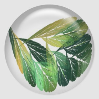 Pretty Green Leaves Arts and Crafts Classic Round Sticker