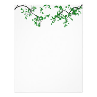 Pretty Green Leaves Border Stationery Letterhead Template