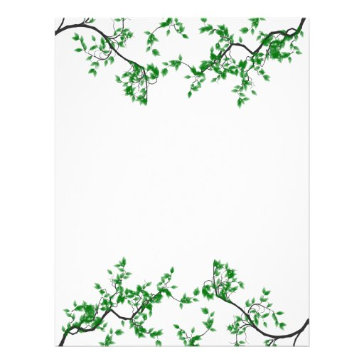 Pretty Green Leaves Border Stationery Letterhead | Zazzle