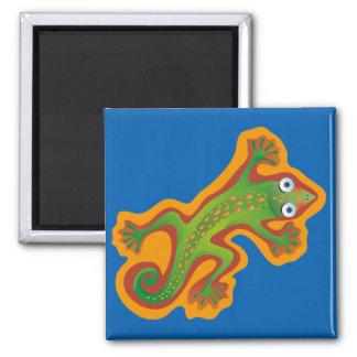 Pretty green lizard, lizard 2 inch square magnet