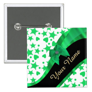 Pretty green modern spotted pattern 2 inch square button