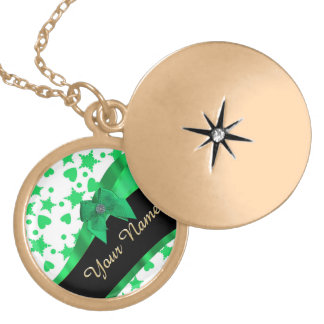 Pretty green modern spotted pattern gold plated necklace