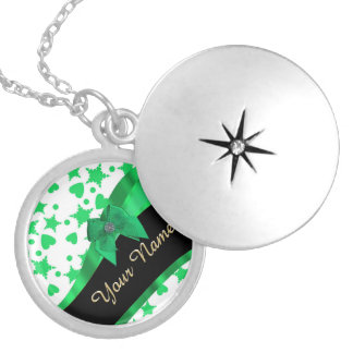 Pretty green modern spotted pattern locket necklace