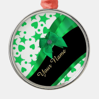 Pretty green modern spotted pattern metal ornament