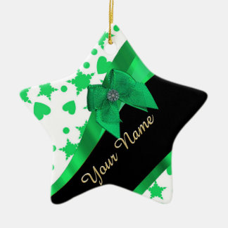 Pretty green modern spotted pattern Double-Sided star ceramic christmas ornament