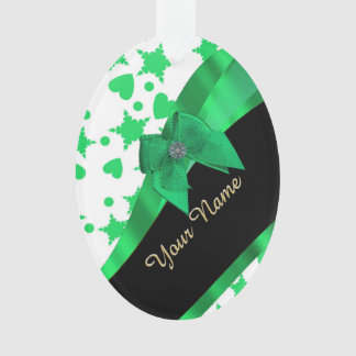 Pretty green modern spotted pattern ornament