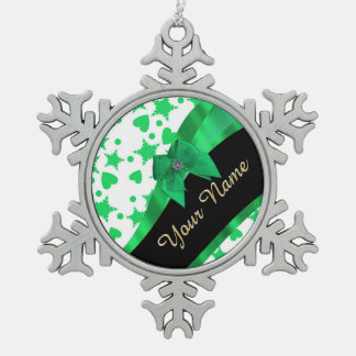Pretty green modern spotted pattern snowflake pewter christmas ornament