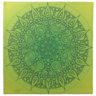 Pretty Green Oriental Design Cloth Napkin