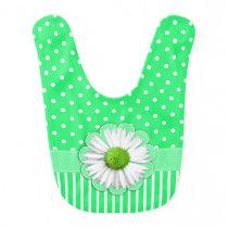 Pretty Green Patterns and White Daisy Baby Bib