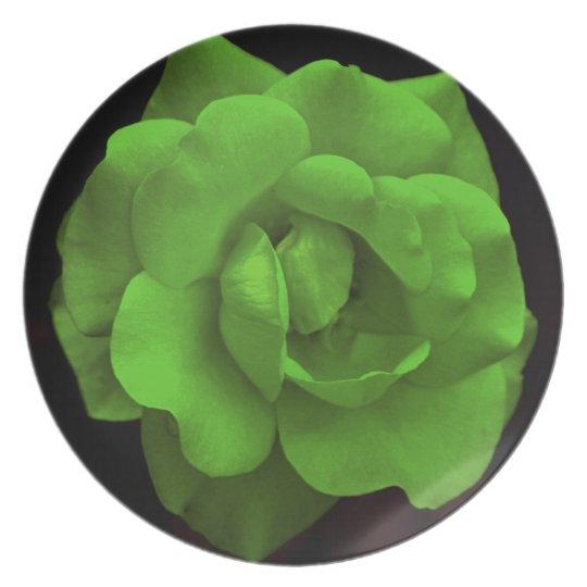 Pretty green rose melamine plate