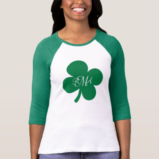 Pretty Green Shamrock Monogrammed Personalized T-Shirt