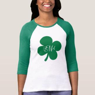 Pretty Green Shamrock Monogrammed Personalized T-Shirt