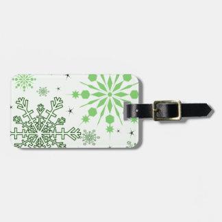 Pretty Green Snowflakes Bag Tag