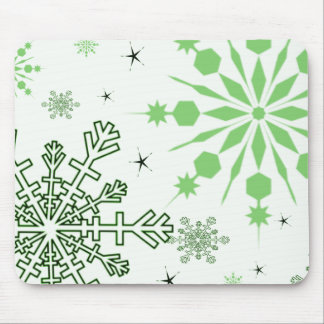 Pretty Green Snowflakes Mouse Pad