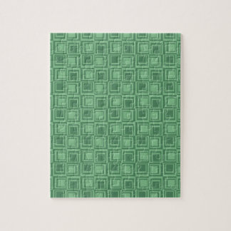 Pretty Green Squares Retro Pattern Gifts Jigsaw Puzzle