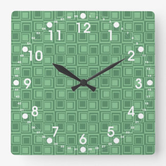 Pretty Green Squares Retro Pattern Gifts Square Wall Clock