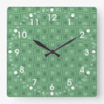 Pretty Green Squares Retro Pattern Gifts Wallclock