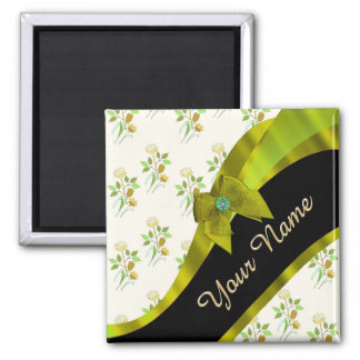 Pretty green vintage floral flower pattern 2 inch square magnet