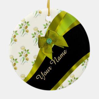 Pretty green vintage floral flower pattern ceramic ornament