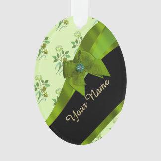 Pretty green vintage floral flower pattern ornament