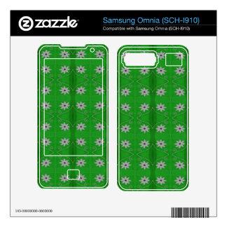 pretty green white flower pattern decals for samsung omnia