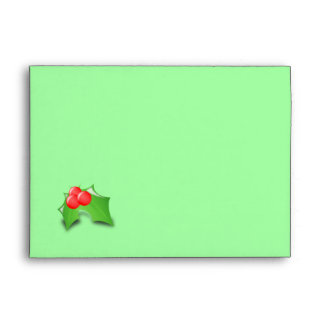 Pretty Green with Holly Custom Christmas Envelope