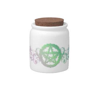 Pretty greenery pentacle jar with lid candy jars