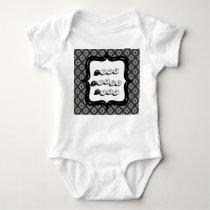 Pretty Grey Crisscross Pattern Baby Bodysuit