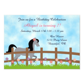 Pretty Grey Horse and Flowers Birthday Invitation