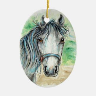 Pretty Grey Horse Ornament
