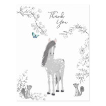 Pretty Grey Horse, Squirrels and Flowers Thank You Postcard