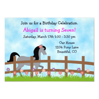 Pretty Grey Horse with Flowers Birthday Invitation