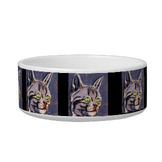 PRETTY GREY KITTY bowl Pet Water Bowls