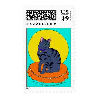 Pretty Grey Kitty Postage Stamps