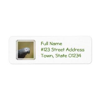 Pretty Grey Parrot Custom Return Address Labels