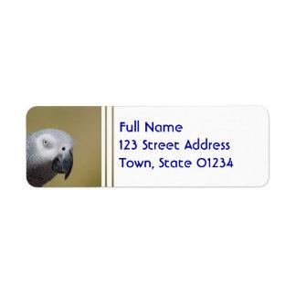 Pretty Grey Parrot Custom Return Address Label