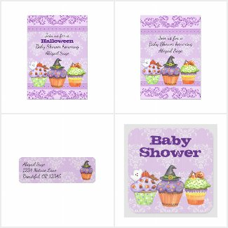 Pretty Halloween Cupcakes Baby Shower Collection