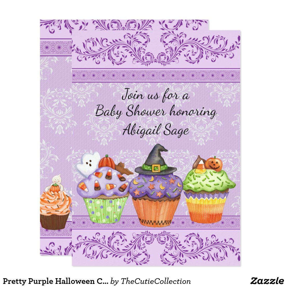 Pretty Halloween Cupcakes Girls Baby Shower Invite