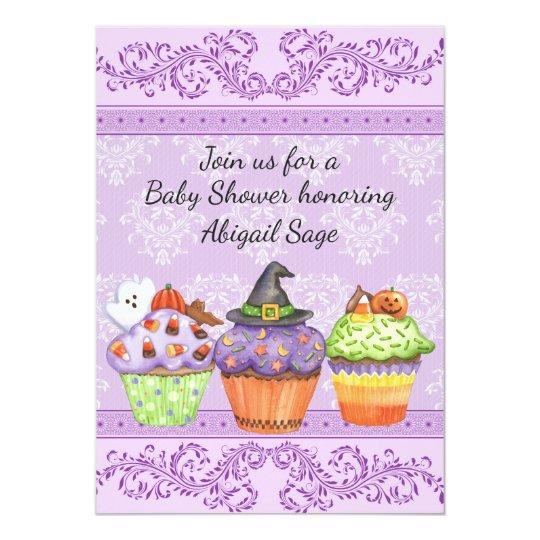 Pretty Halloween Cupcakes Girls Baby Shower Invite Zazzlecom