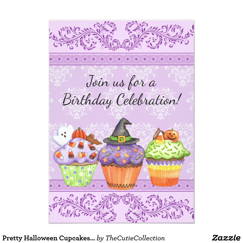 Pretty Halloween Cupcakes Girls Birthday Invite