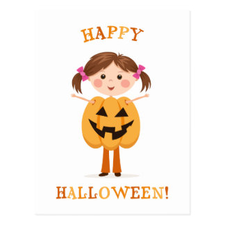 Pretty Halloween girl wearing a pumpkin outfit Postcard