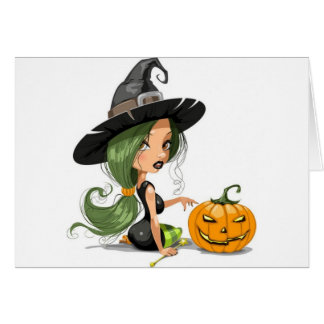 Pretty Halloween Witch Card
