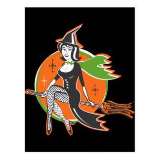 Pretty Halloween Witch Postcard