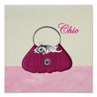 Pretty Hand Bag Girly Pink Fashion Poster Print