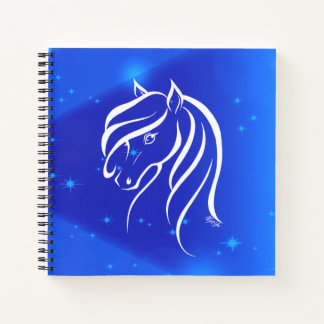 Pretty Hand Drawn Blue Galaxy Horse Art Sketchbook Notebook