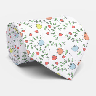Pretty Hand Drawn Floral Pattern With Hearts Neck Tie