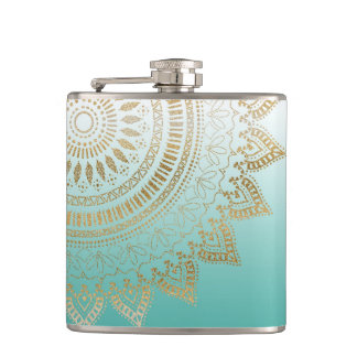 Pretty hand drawn tribal mandala elegant design flask