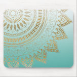 """Pretty hand drawn tribal mandala elegant design mouse pad<br><div class=""""desc"""">Pretty hand drawn tribal mandala elegant design, trendy girly, henna Indian floral, Mehndi geometric, circle of flowers, shapes, lines, stripes, triangles, dots, yellow shining faux gold glitter, peacock blue, aqua, light blue, and white gradient background beautiful colors, Aztec, traditional with a modern twist, mystical, whimsical, decorative, hand drawn, native, ethnic...</div>"""