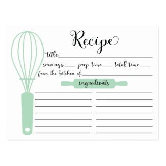 Pretty Hand Lettered Mint Green Whisk Recipe Card