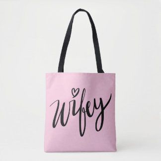 Pretty hand lettered WIFEY tote bag for newlywed
